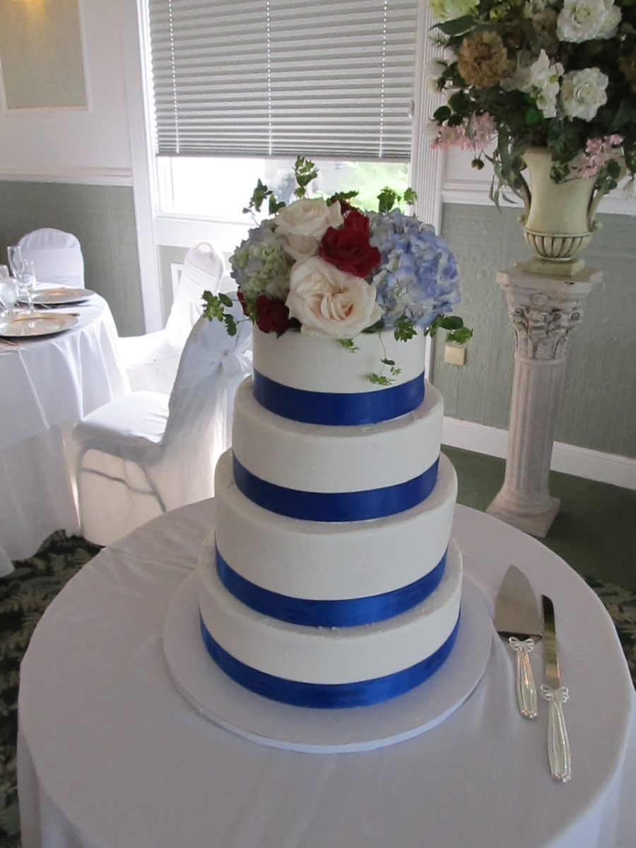 Royal Blue Ribbon Wedding Cake Cakecentral Com