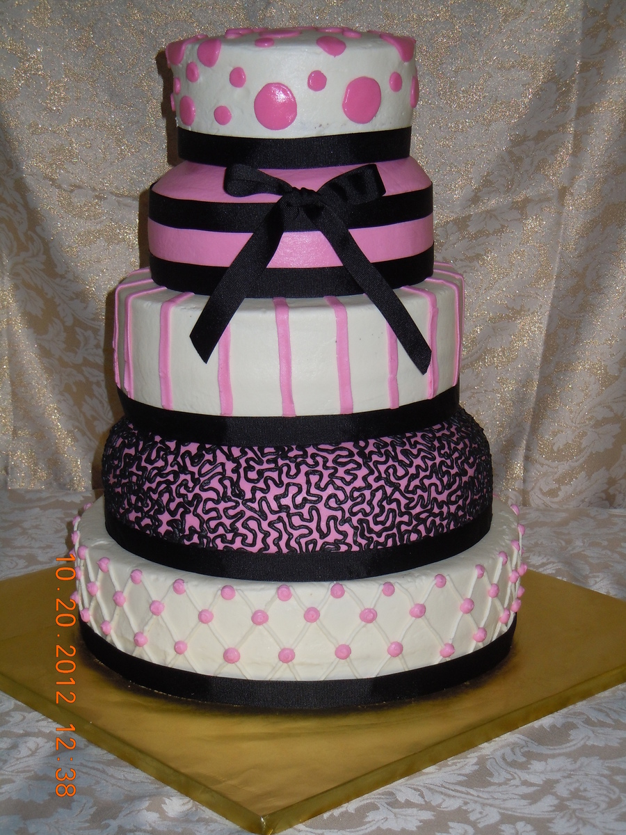 5 Tier Quinceanera Buttercream Icing With Cloth Ribbon Boarder And Bow on Cake Central