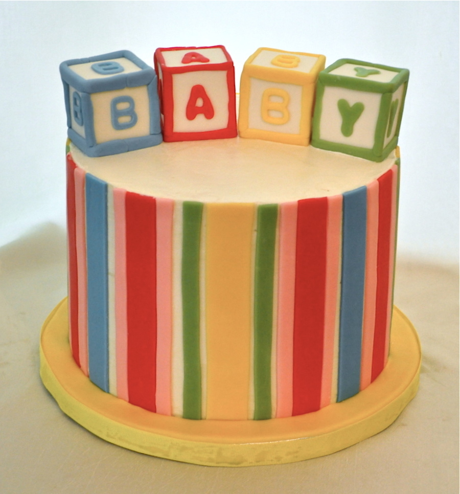 Blocks And Stripes Shower Cake on Cake Central