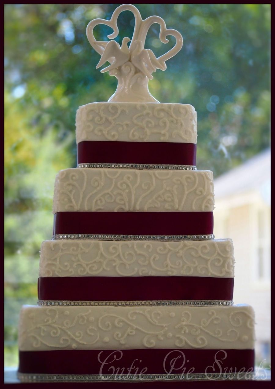 4 Tiered Plum Square Scrolled Wedding Cake on Cake Central
