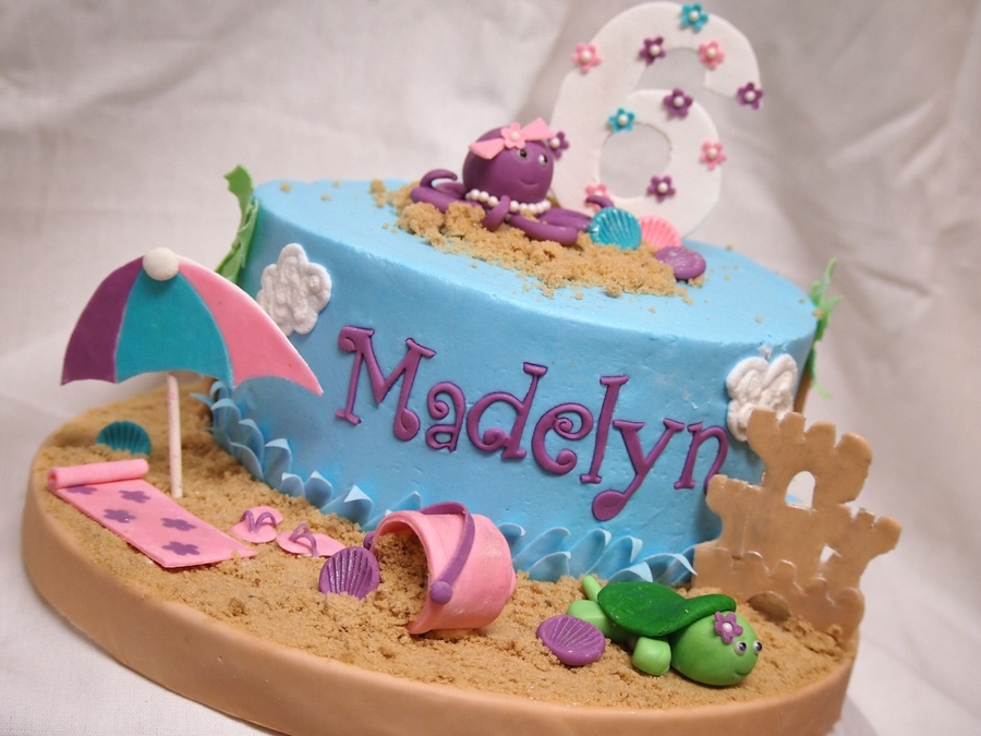 Beach Theme Pool Party Cake - CakeCentral.com