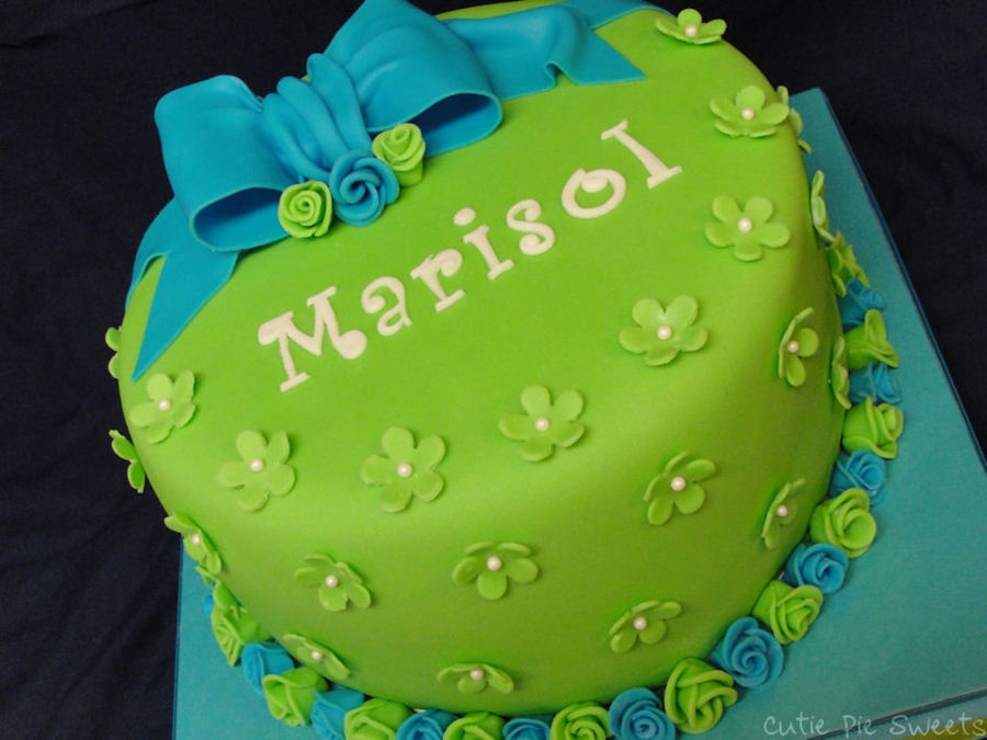 Blue & Green Rose Bow Cake on Cake Central