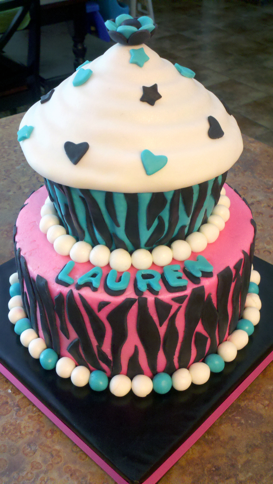 Pink & Teal Zebra Cupcake Birthday Cake  on Cake Central