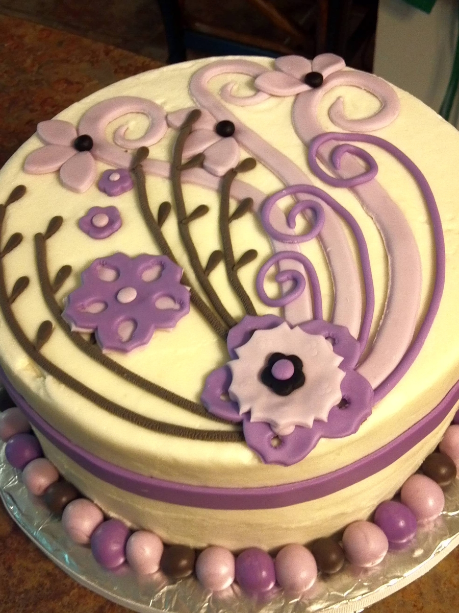 Purple Floral Anniversary Cake on Cake Central