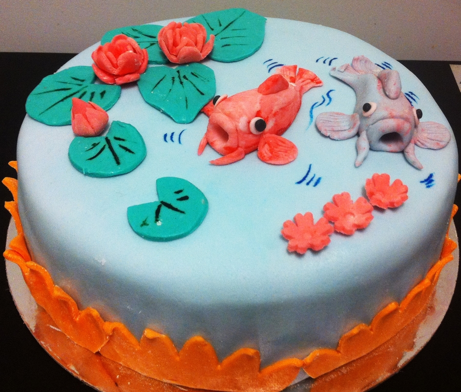 Koi Fishes In A Lotus Pond on Cake Central