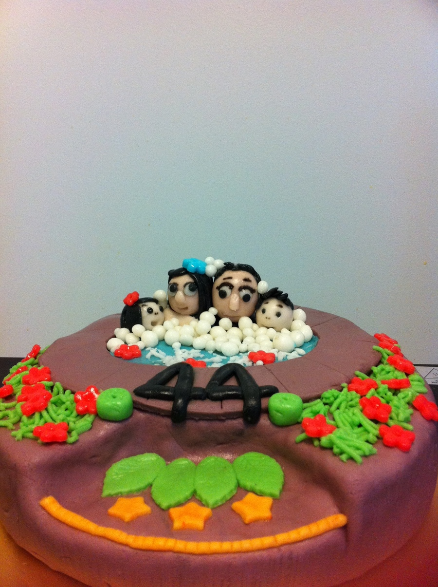 A Family Of Four In A Bubbly Hot Tub on Cake Central