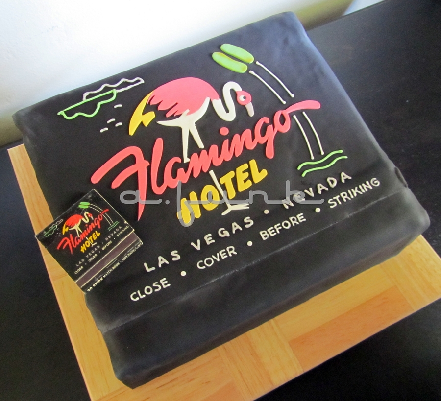 Flamingo Hotel Matchbook Cake  on Cake Central