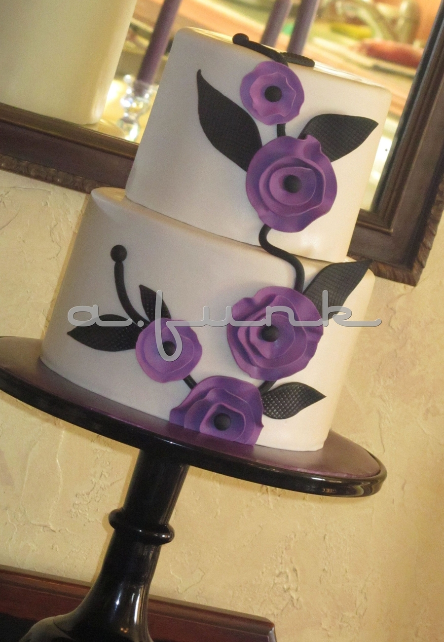 Purple Flowers Cake on Cake Central