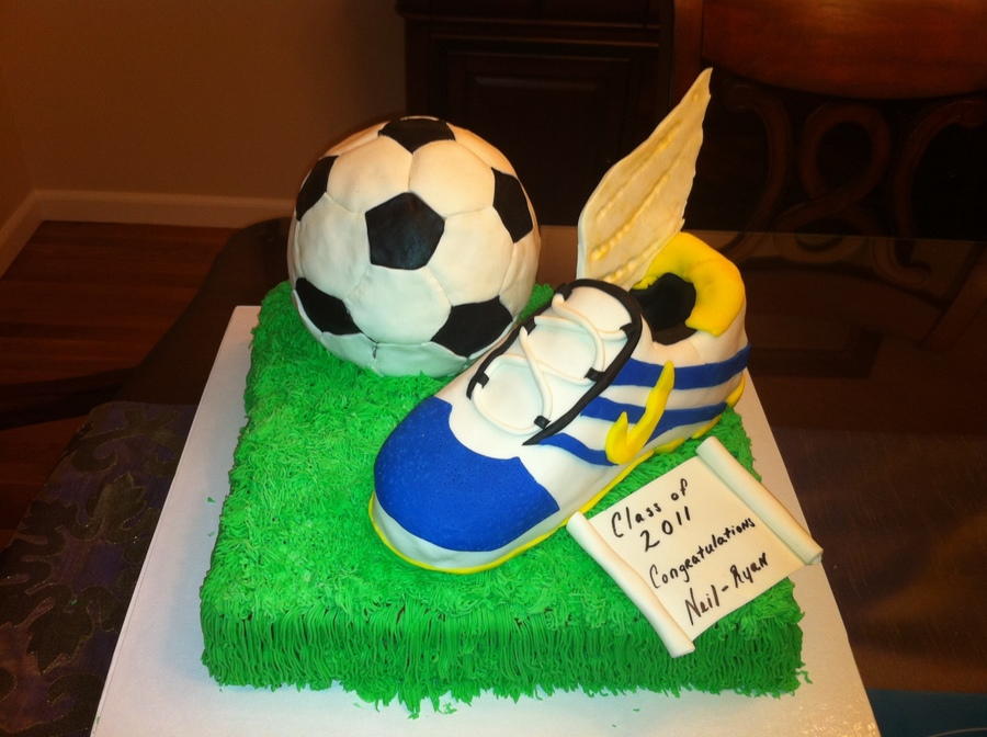 Graduation Cake Track And Soccer on Cake Central