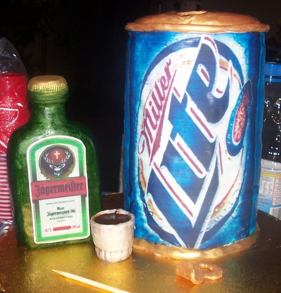 Miller Lite And Jagermeister Bottle on Cake Central