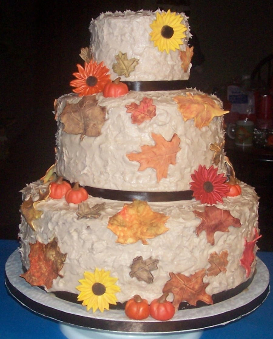 Fall Themed Wedding Cake on Cake Central