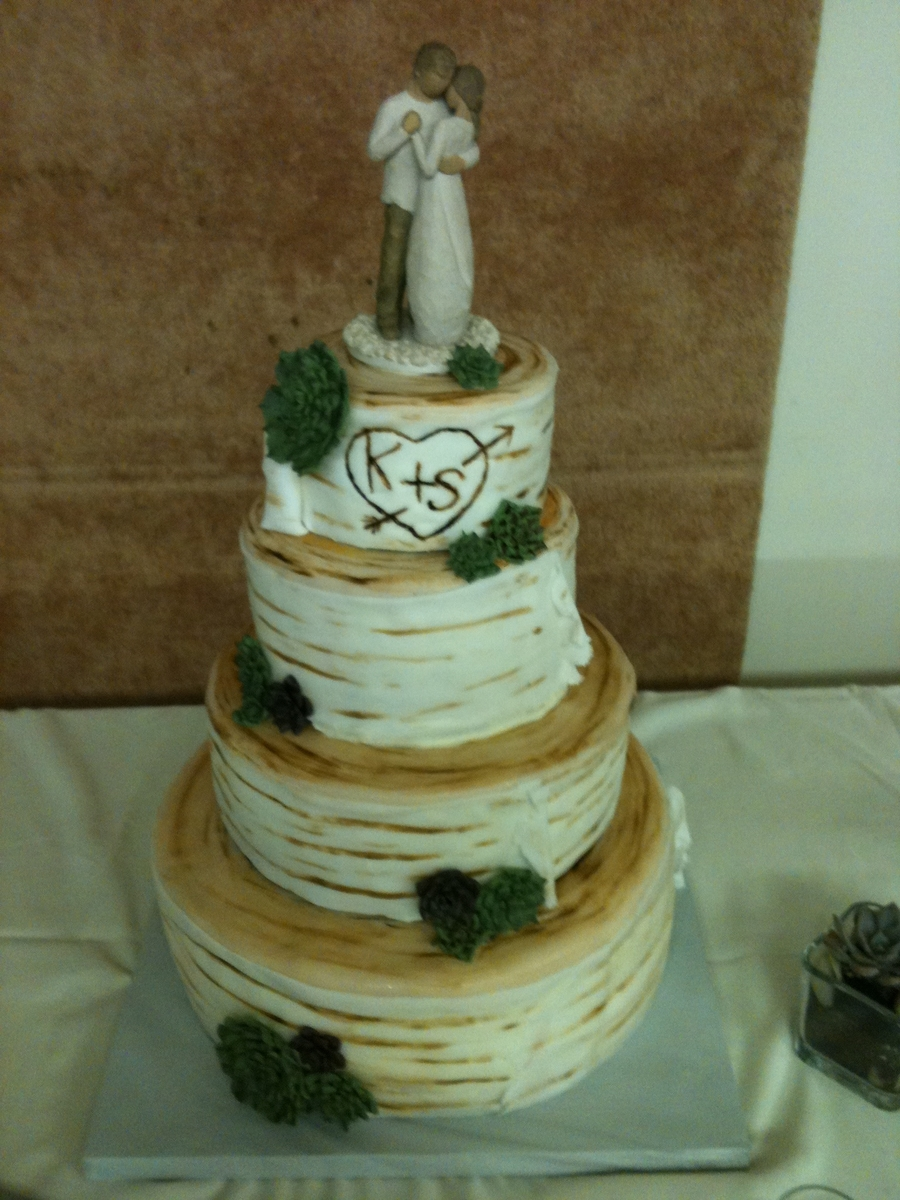 Birch Log And Succulents Wedding Cake Cakecentral Com
