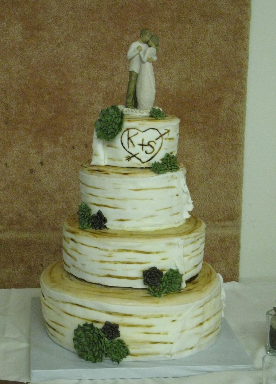 birch log and succulents wedding cake. Black Bedroom Furniture Sets. Home Design Ideas
