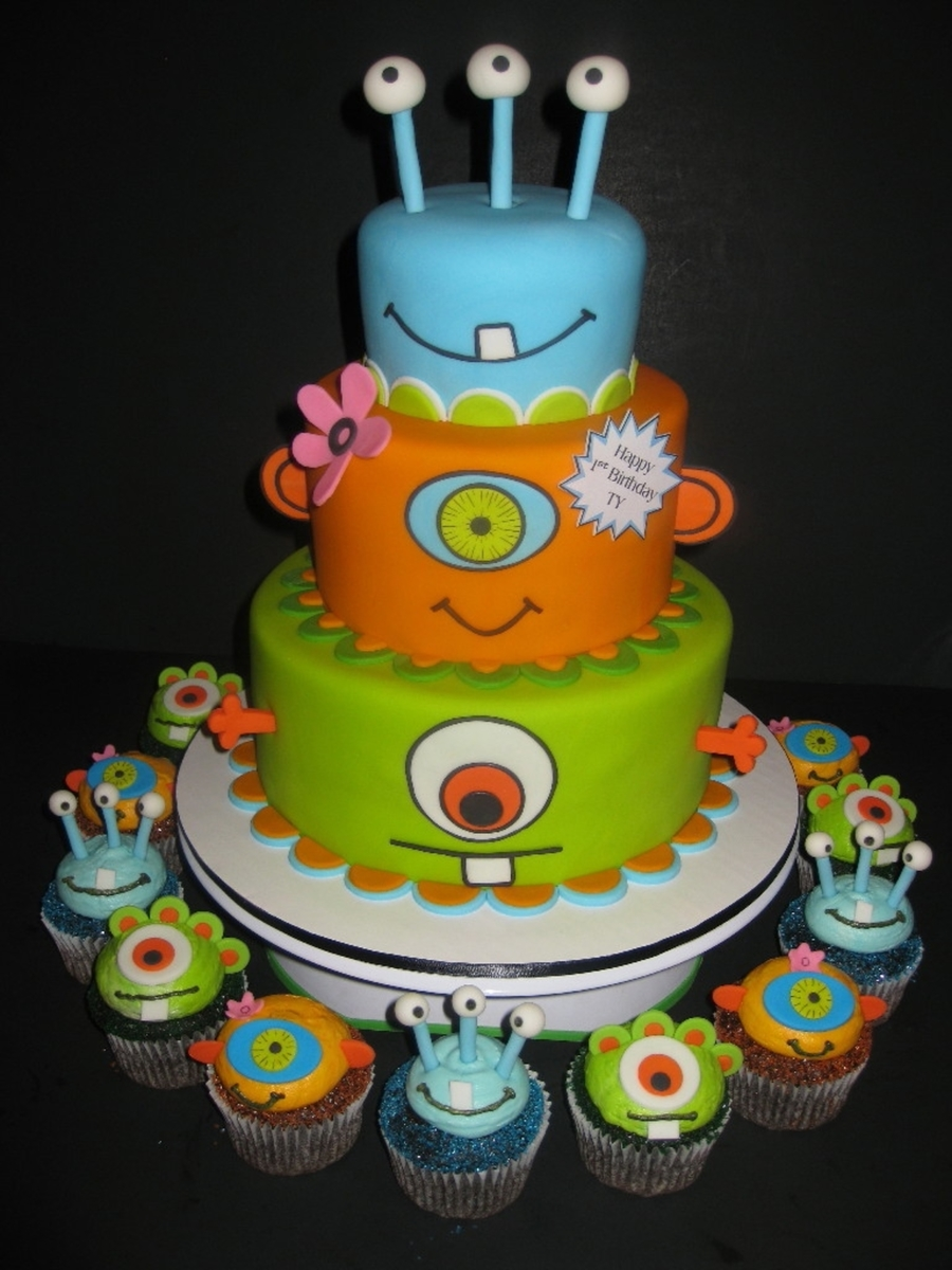 Monsters Birthday Cake Cupcakes CakeCentralcom