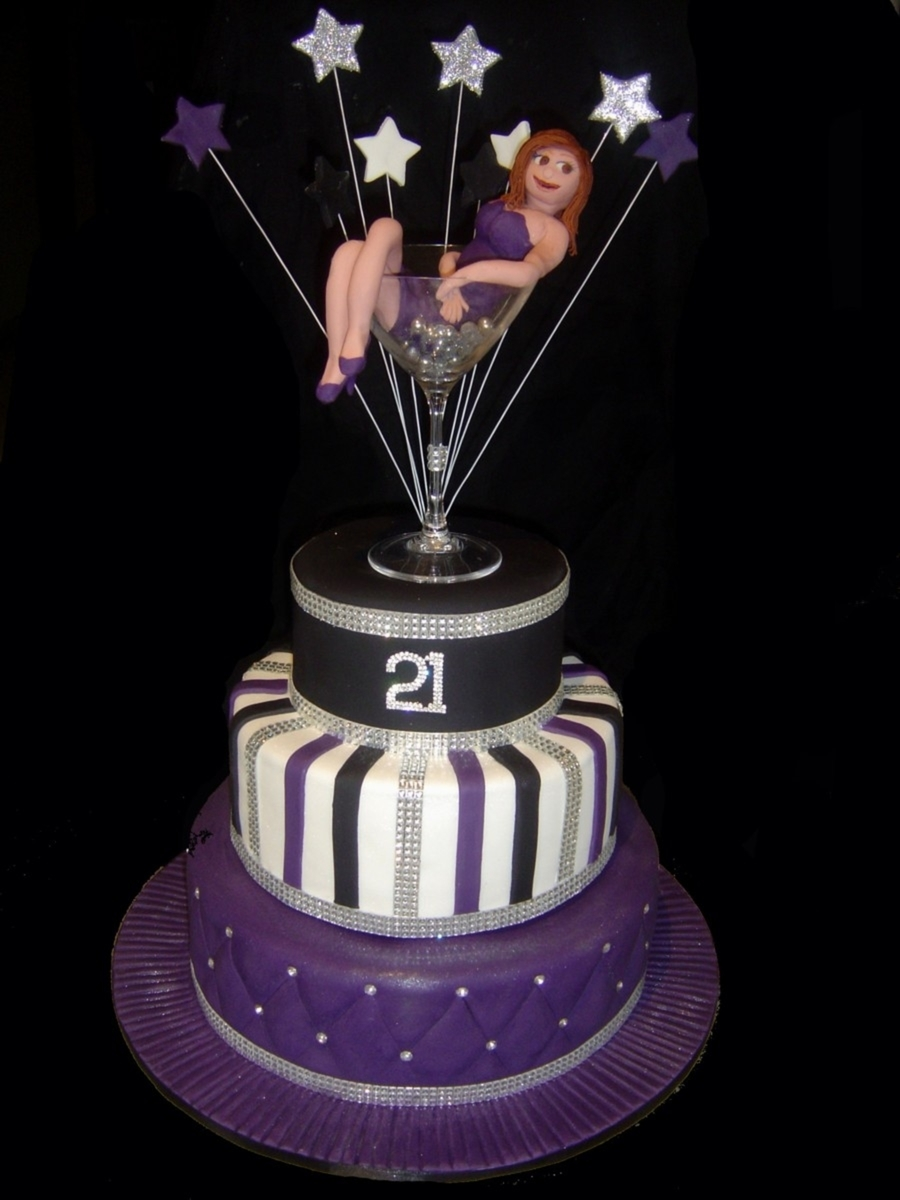 Bling martini glass 21st birthday cake for 21st birthday cake decoration