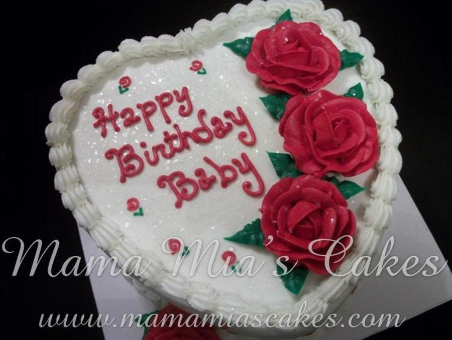 Red Rose Heart Birthday Cake - CakeCentral.com