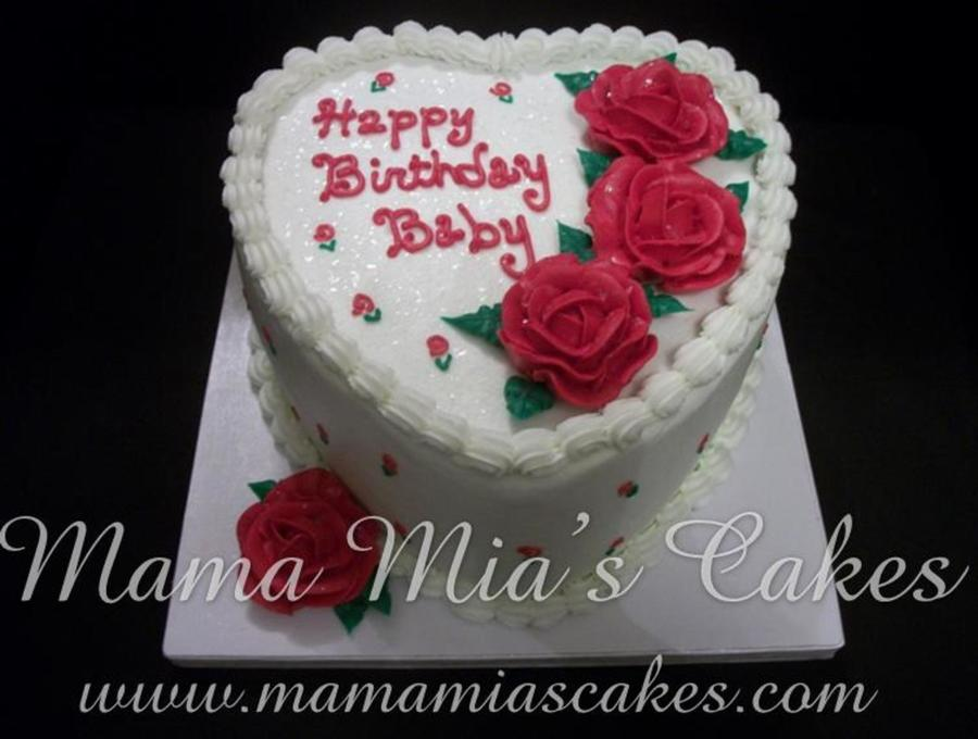 Red Rose Heart Birthday Cake Cakecentral Com