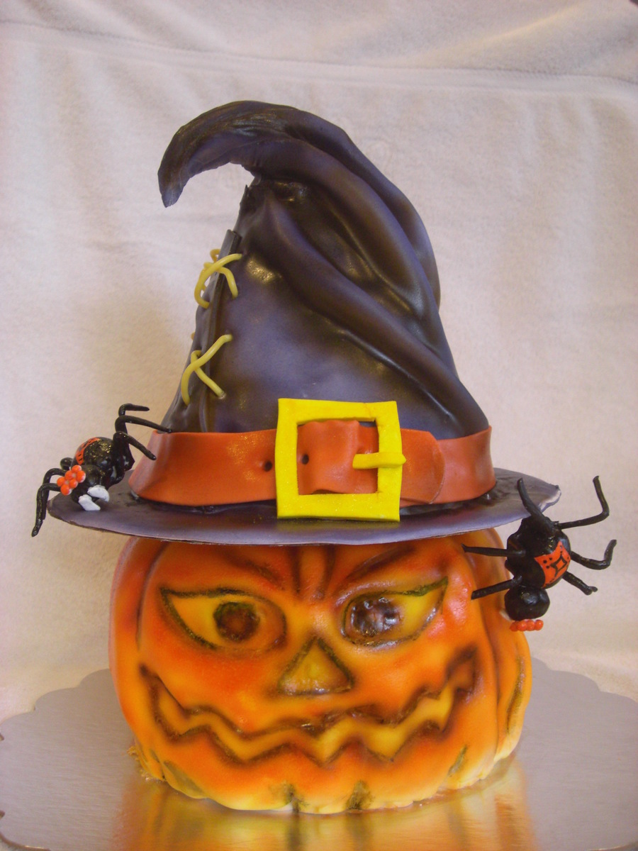 Jack-O-Lantern Cake With Hat on Cake Central