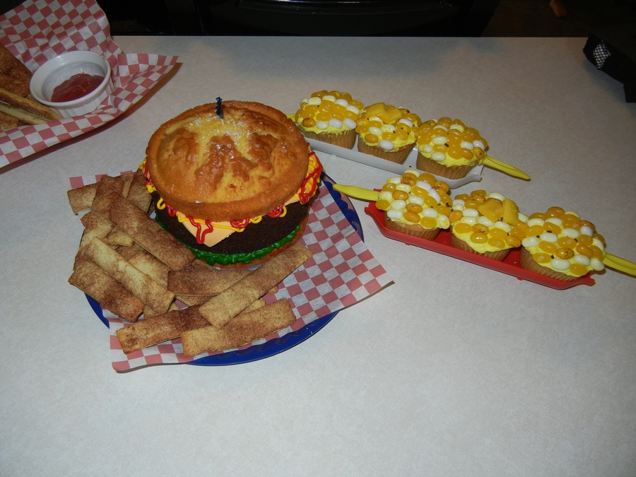 Hamburger Cake With Pie Fries And Corn On The Cob on Cake Central