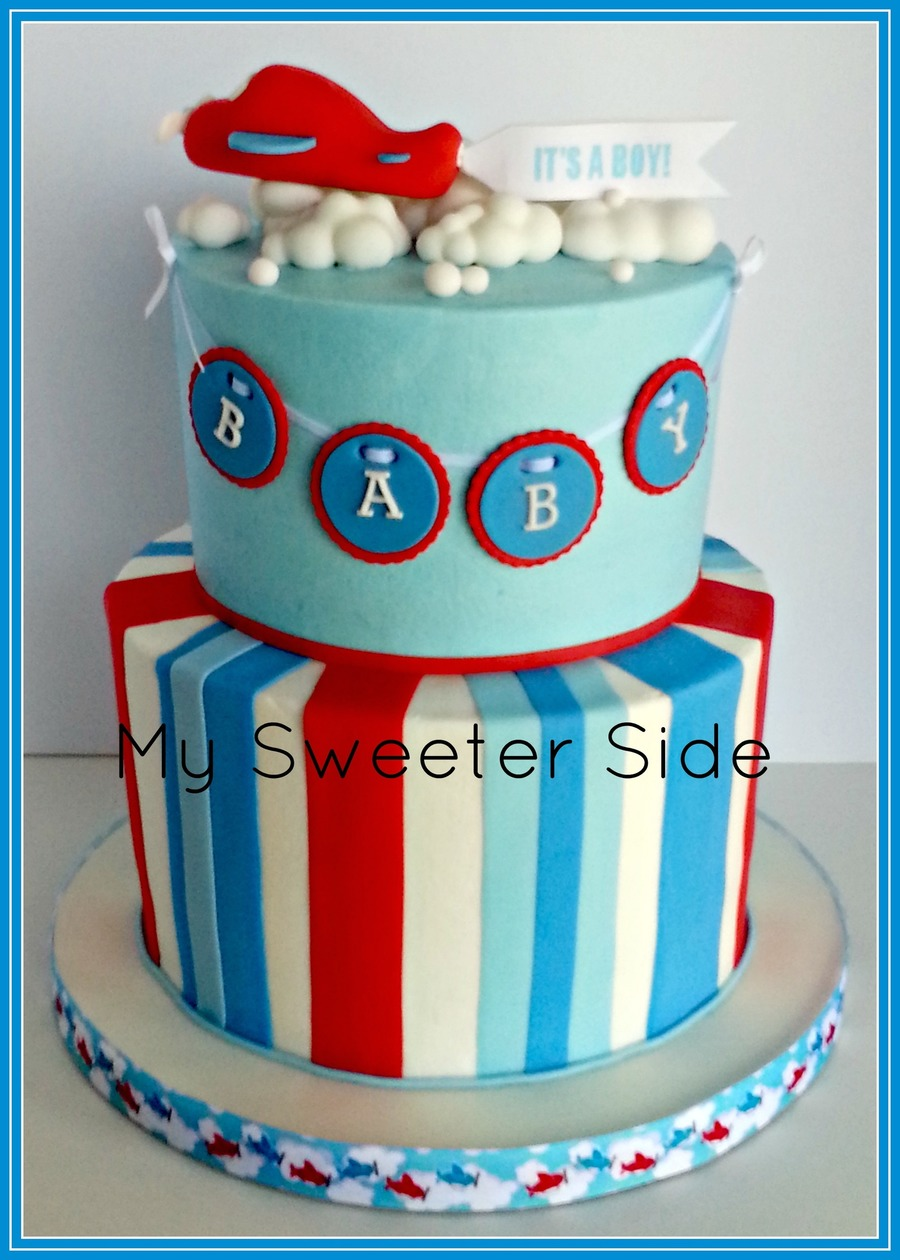 Airplane baby shower cake for Airplane baby shower decoration ideas