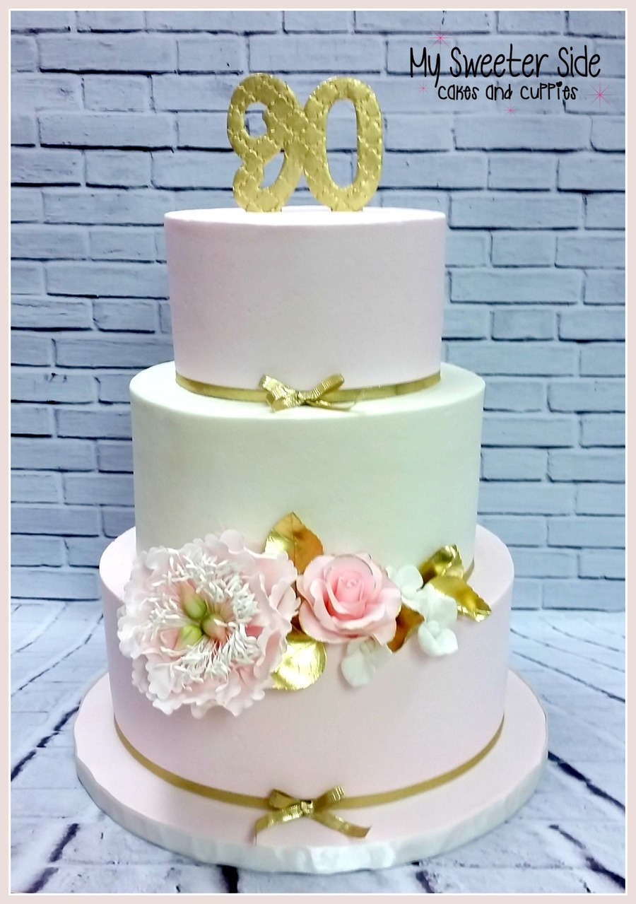 Pale Pink And Ivory Buttercream Cake With Gum Paste Flowers To