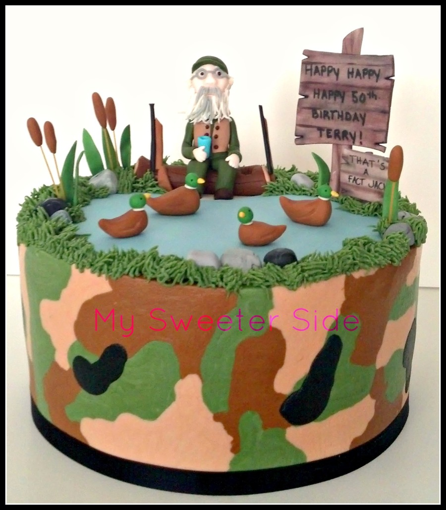 Fondant Decor On Buttercream Cake : Duck Dynasty Themed Birthday Cake Camo Buttercream With ...