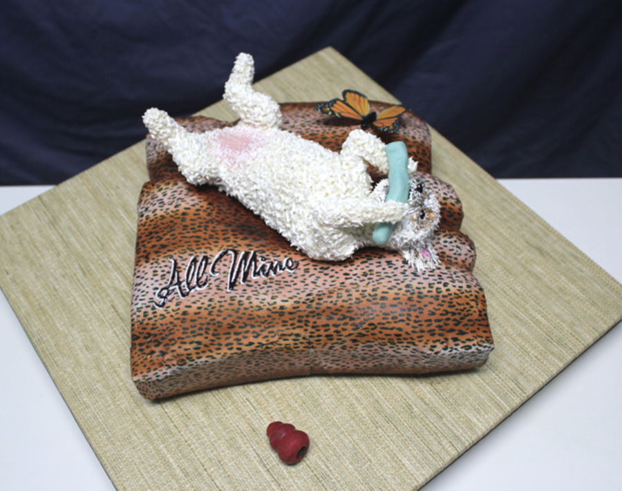 Dog Cake With Edible Image Butterfly And Printed Icing Sheet on Cake Central