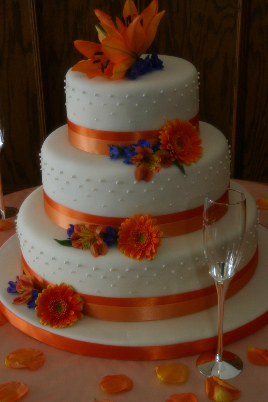Orange And Blue Flowers on Cake Central