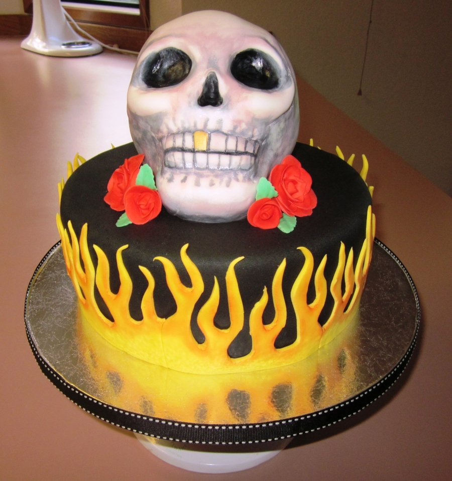 Skull And Flames on Cake Central