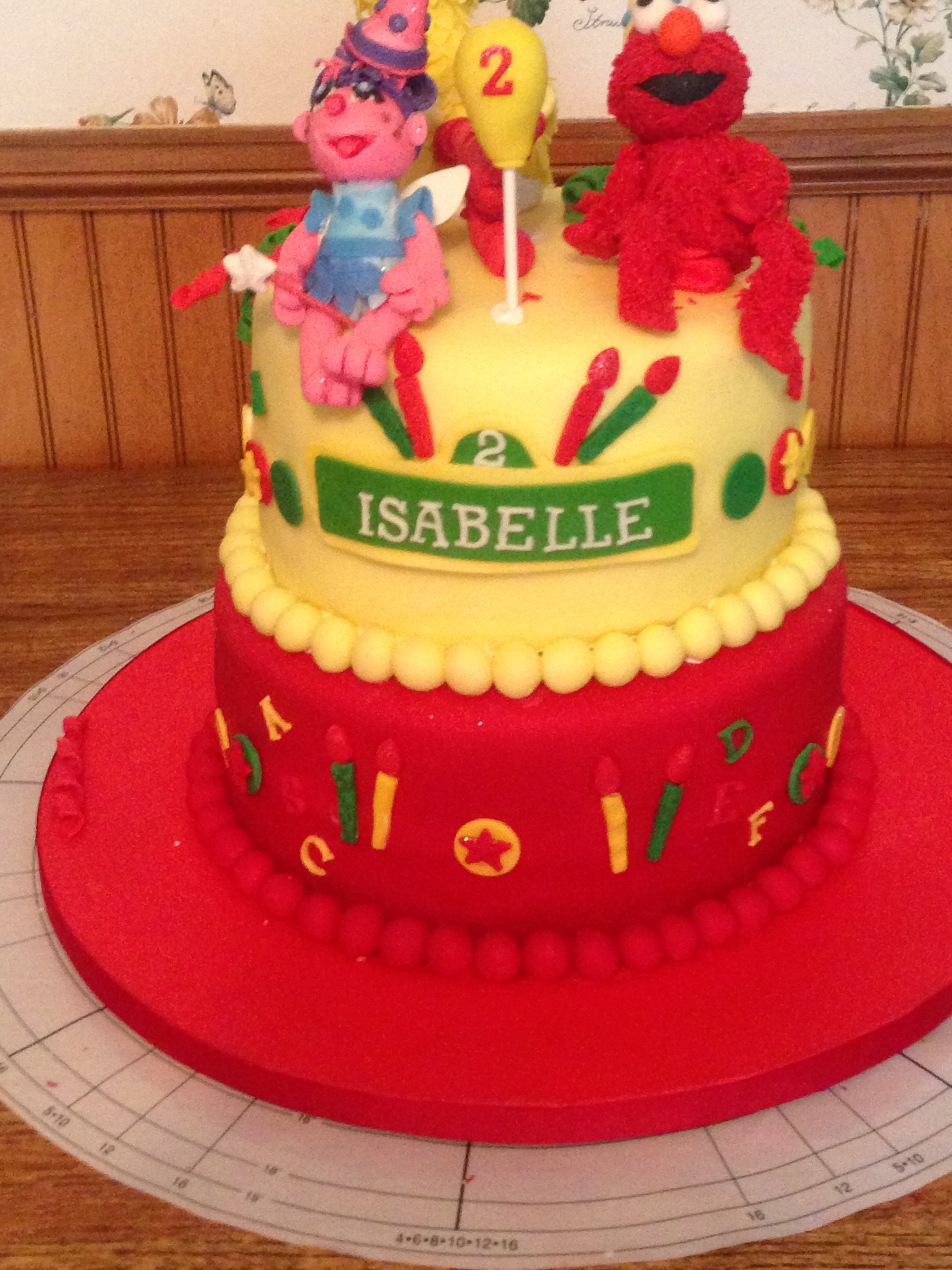 Sesame Street Themed Birthday Cake Featuring Elmo Abby Cadabby And Big Bird All Fondant With Vanilla Buttercream Atop Of A Butter Yellow