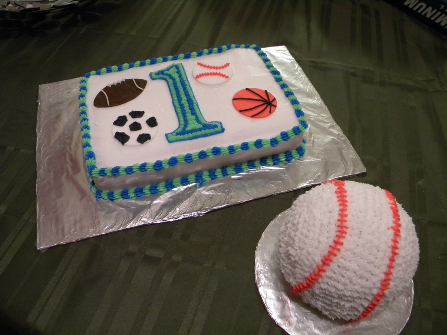 Sports Theme First Birthday on Cake Central