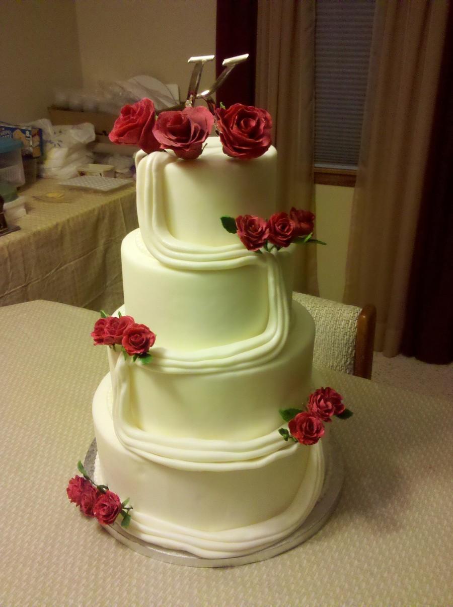 Red Rose Wedding Cake - CakeCentral.com