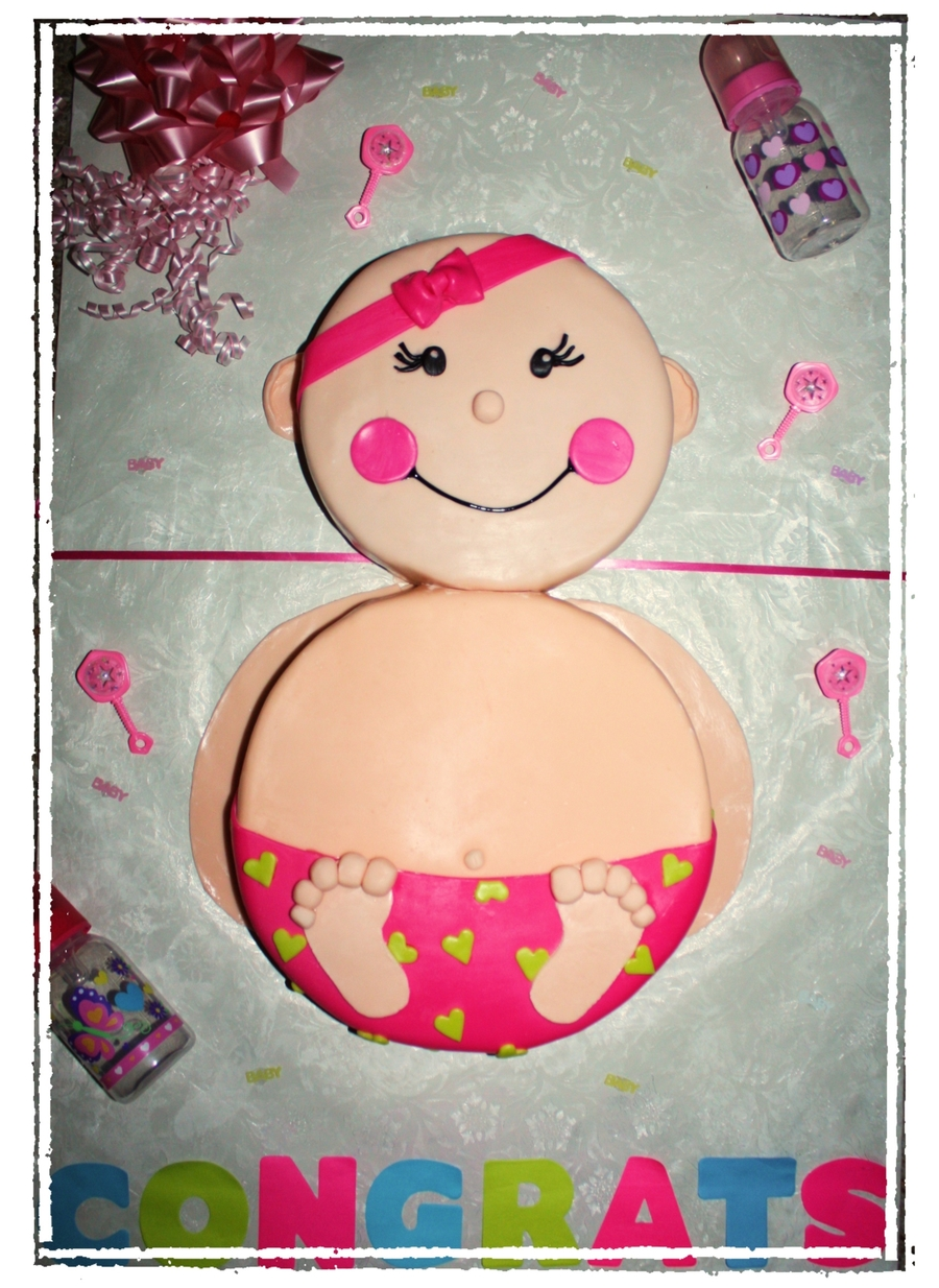 Baby Girl Pink Shower Cake on Cake Central