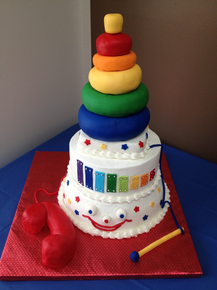 Inspiration Came From The Fisher Price 80Th Anniversary Cake And General Fisher Price Toys Themselves Done For A Baby Shower That Had A Rai... on Cake Central
