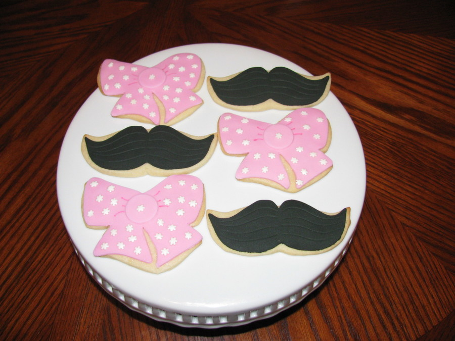 Baby Shower Gender Reveal Cookies Pink Bows And Mustaches on Cake Central