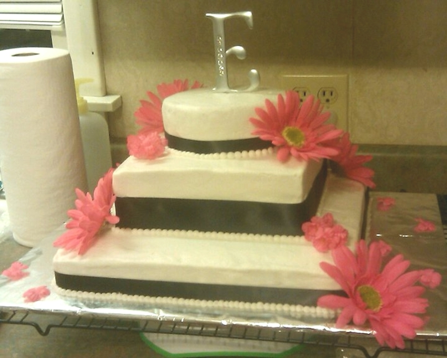 Black And Pink Wedding Cake - CakeCentral.com