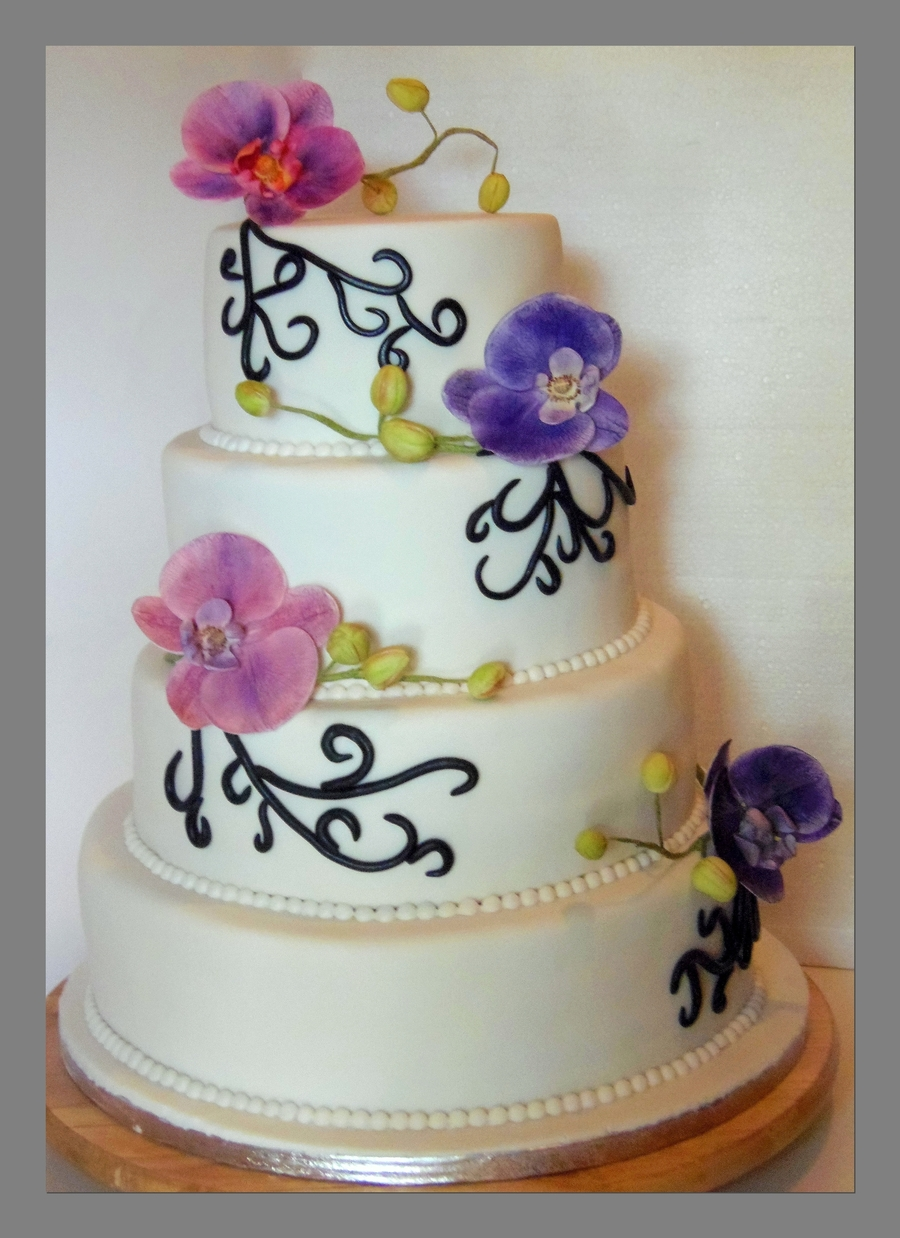 Moth Orchid Weddingcake on Cake Central
