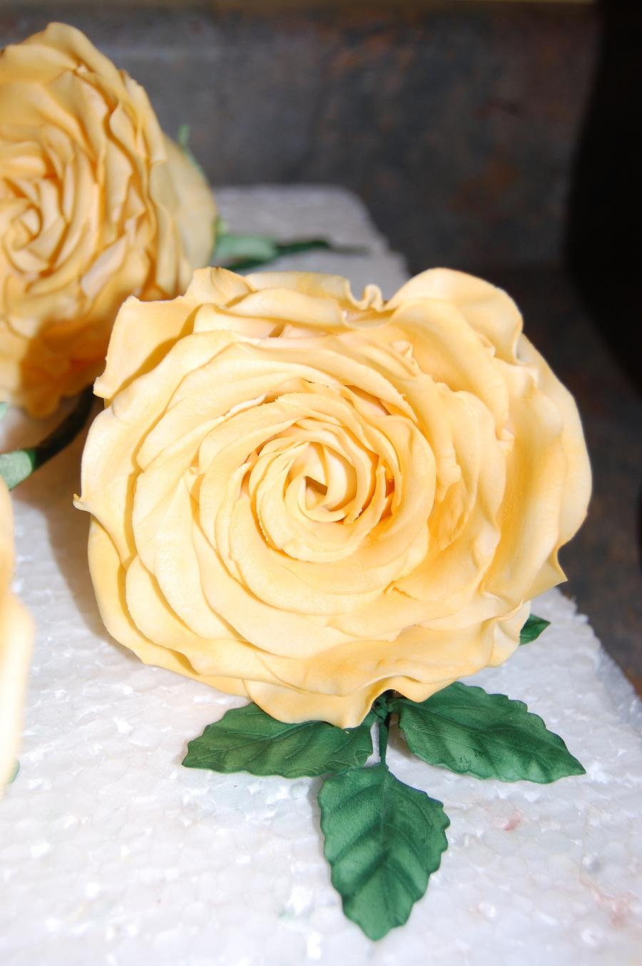 Old Garden Rose Wedding Cake - CakeCentral.com