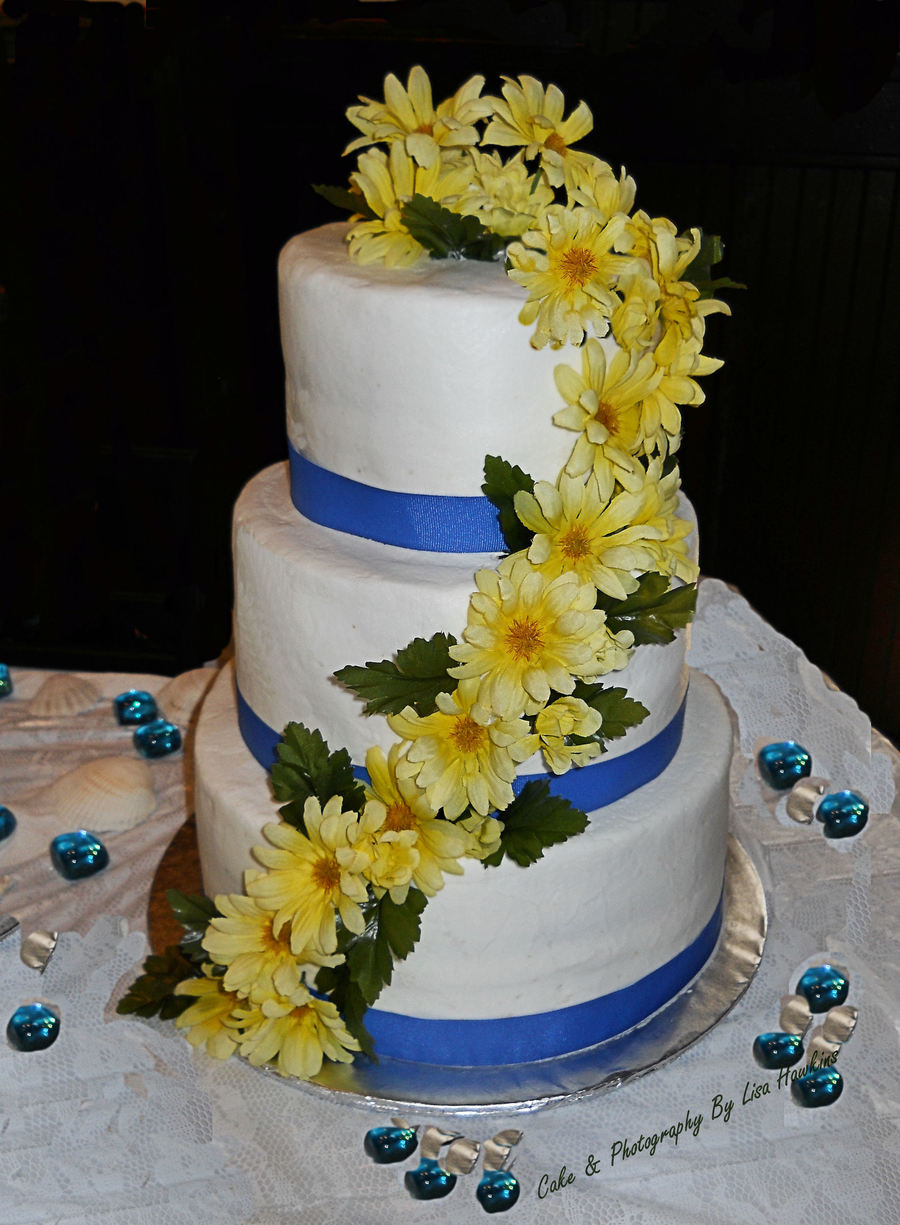 Yellow Daisies Wedding Cake on Cake Central