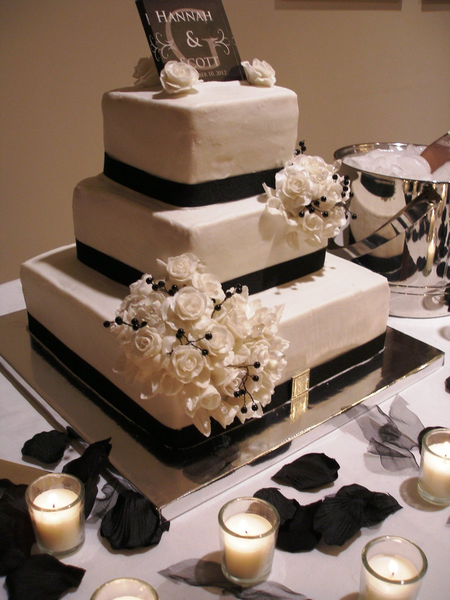 3 Tier Wedding Cake With Gumpaste Roses Amp Black Ribbon Around The Base Of Each Tier on Cake Central