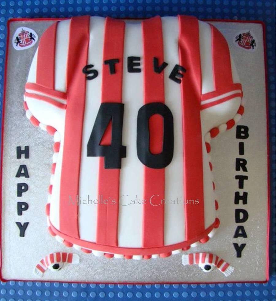 Sunderland football shirt cake for T shirt cake decoration