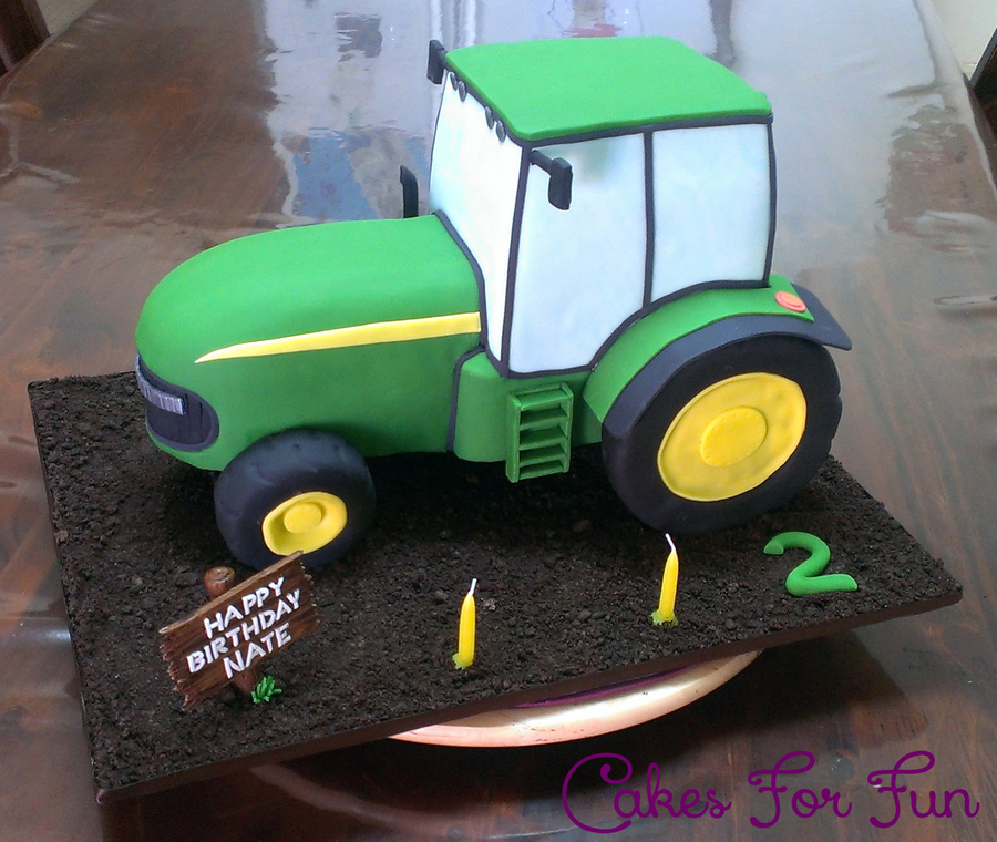 John Deere Tractor Cake Made From Chocolate Mud Cake With Choc