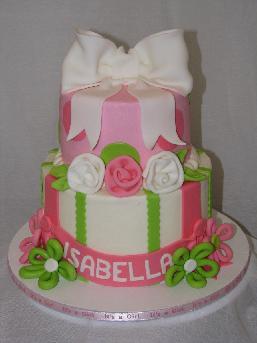 pink and lime green baby shower cake