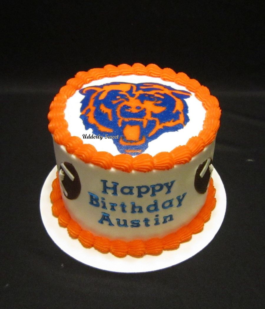 This Is A 6 Yellow Cake Frosted In Buttercream Made For A 10 Year Old Bears Football Fan The Bear Face Is A Fbct And The Footballs Amp  on Cake Central