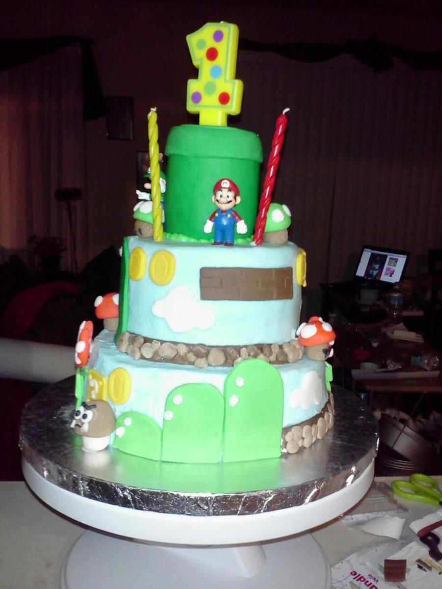 Mario Birthday Cake For 1 Year Old All Fondant And Candymario And