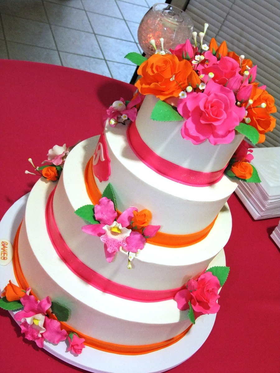 Pink And Orange Floral on Cake Central