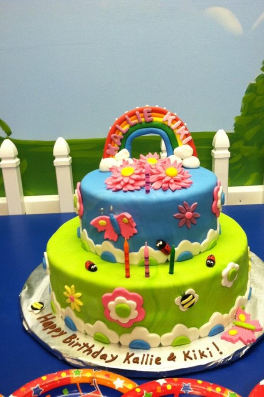 Rainbow flower garden birthday cake cakecentral rainbow flower garden birthday cake on cake central izmirmasajfo