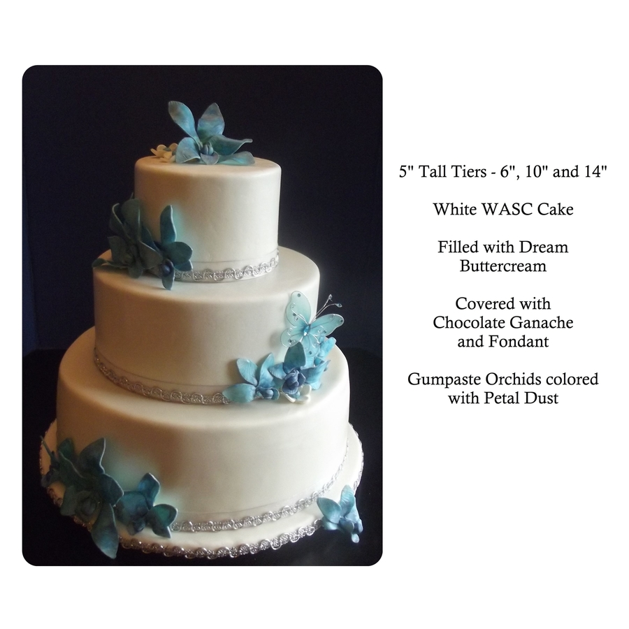 Blue Orchid And Butterfly Wedding Cake - CakeCentral.com