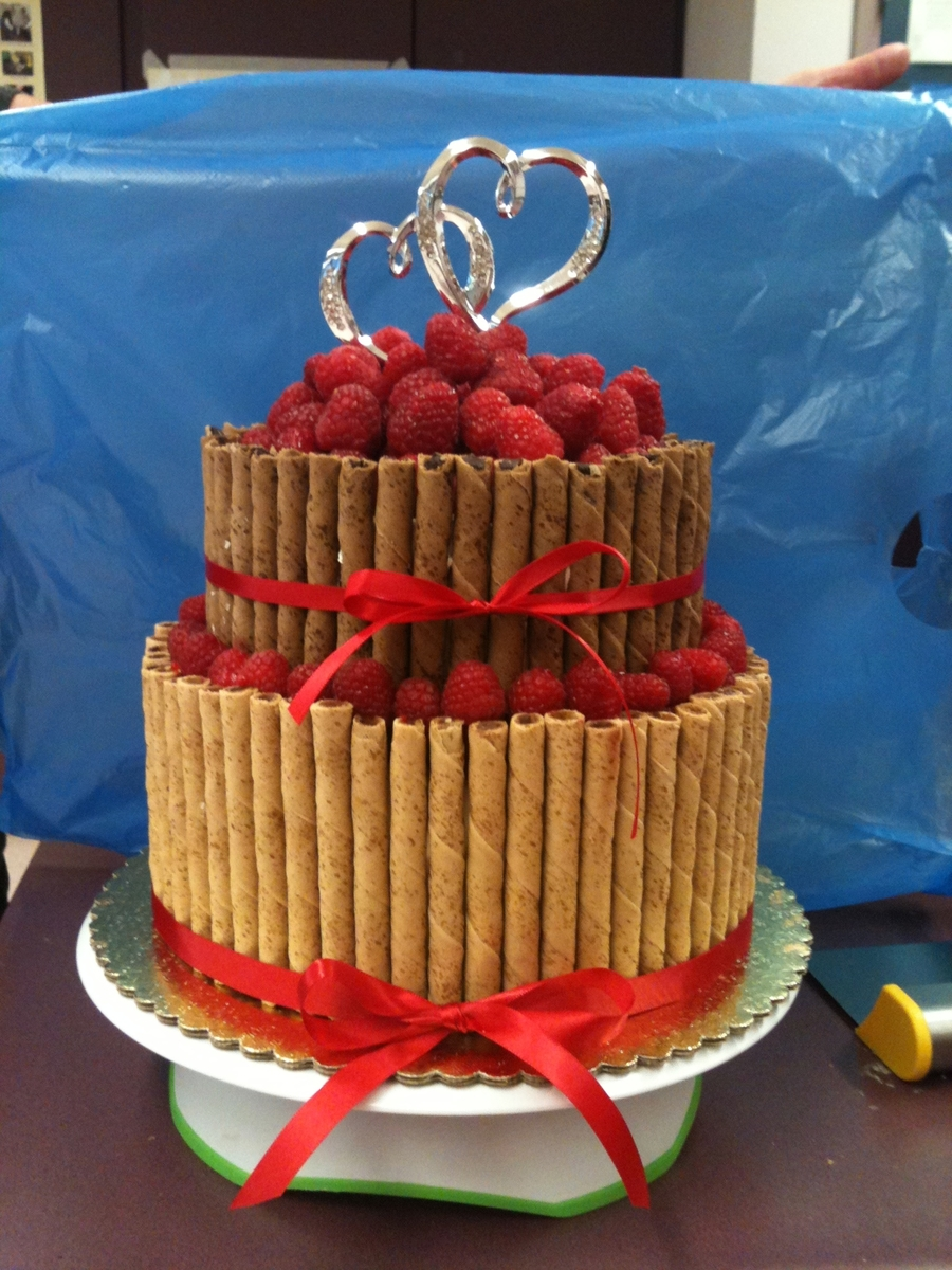 Raspberry Pirouette Wedding Cake on Cake Central
