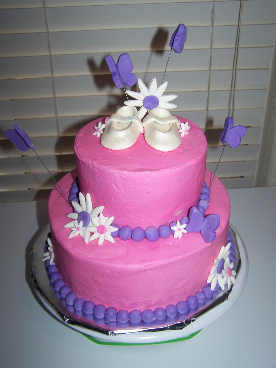 Baby Booties And Butterflies on Cake Central